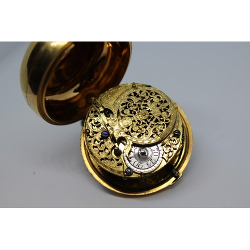918 - Thomas Tompion.  Gilt pair cased verge watch, the movement signed Thomas Tompion, London, No. 3080, ...