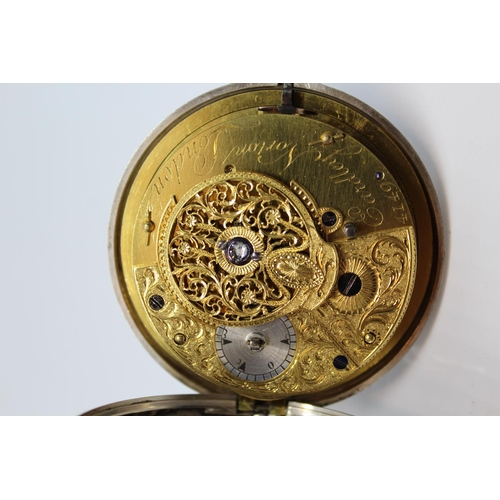 919 - Eardley Norton.  Large plain silver pair cased verge watch for the Turkish market, signed to the bac...