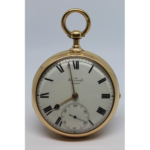 923 - Barraud.  18ct gold cased dumb half quarter repeating pair cased pocket chronometer, signed to the b...