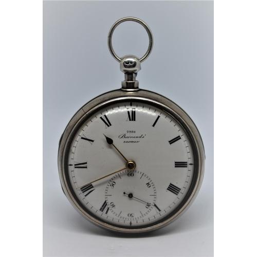 924 - Barraud.  Plain silver pair cased duplex watch, the movement signed, Barraud's, Cornhill, London, No...
