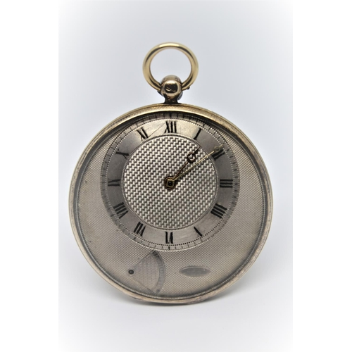 926 - Small and slender 18ct gold and silver cased lever watch in the manner of Breguet.  The silvered eng...