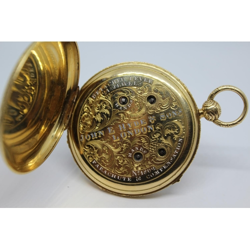 927 - Continental gold cased dual time lever watch with centre seconds, the inner case signed by the retai...