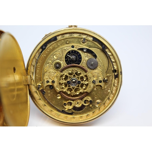 929 - Continental gold cased quarter repeating verge watch, signed Romilly Comp, the gilt inner cover simi...