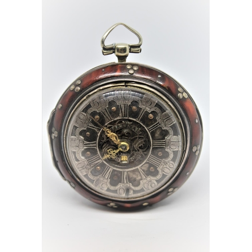931 - Silver and tortoiseshell pair cased verge watch, signed Martineau, London, the champleve silver dial...