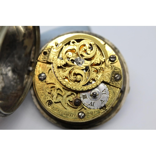 933 - Silver pair cased verge watch, signed Tarts, London, No. 721, the enamel dial with Arabic and Roman ...