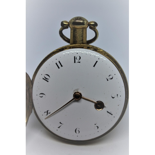 935 - Gilt metal verge watch, signed to the back plate Dwerrihouse Carter and Sons, Berkeley Square, No. 8...