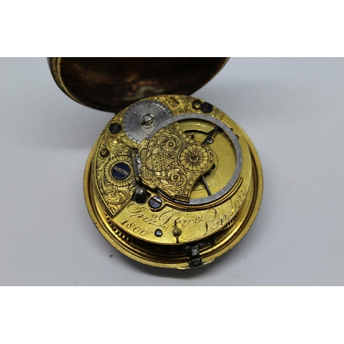 937 - Gilt metal pair cased verge watch, signed Jonathan Price, London 1800, the enamel dial with Arabic n...