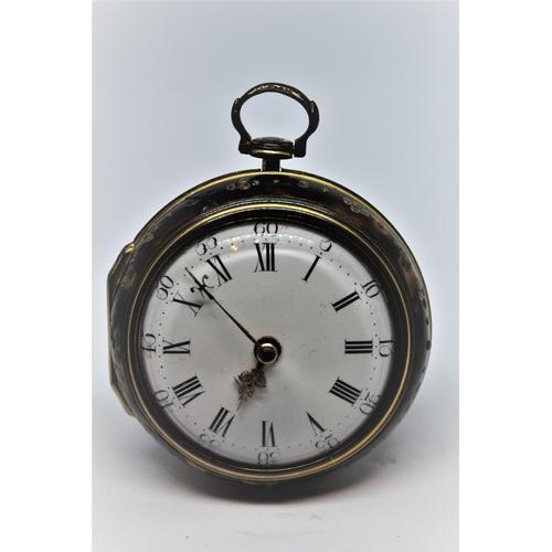940 - Gilt metal pair cased verge watch, the movement signed Jon Abchurch, London, No. 4488, the enamel di...