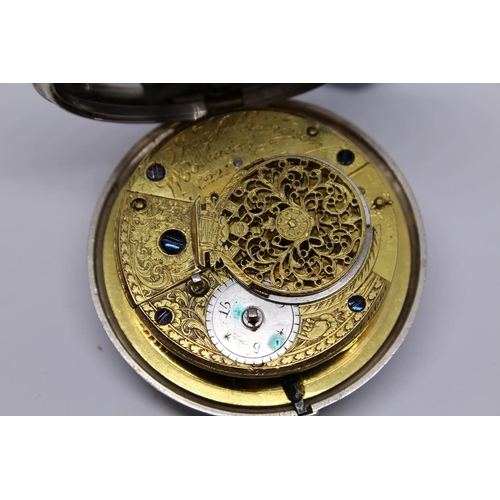 941 - Plain silver pair cased verge watch, signed Jonathan Pilkington, Woolwich, No. 221, the enamel dial ...