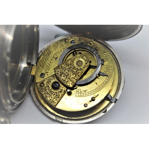 944 - Silver hunter cased verge watch, the movement signed Thomas Wells, Skipston, No. 6905, the enamel di...