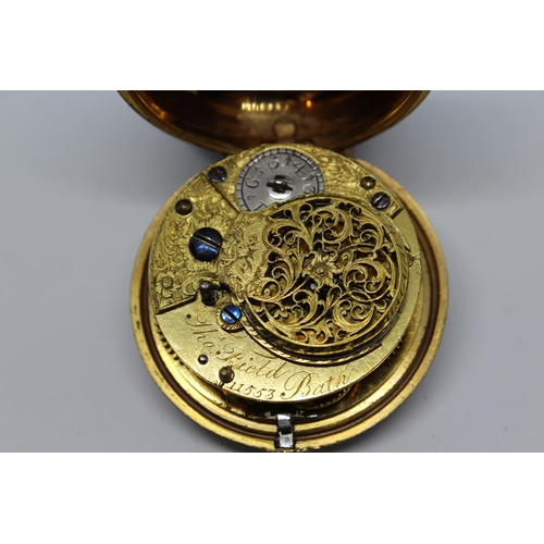 947 - Gilt metal pair cased verge watch, the movement signed Thomas Field, Bath, No. 11553, the enamel dia...