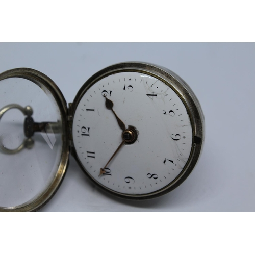 949 - Plain silver pair cased verge watch, the movement signed P. Thompson, London, No. 5542, the enamel d...