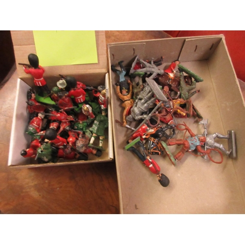 111 - Small quantity of die-cast metal and plastic toy soldiers by Britains and others...