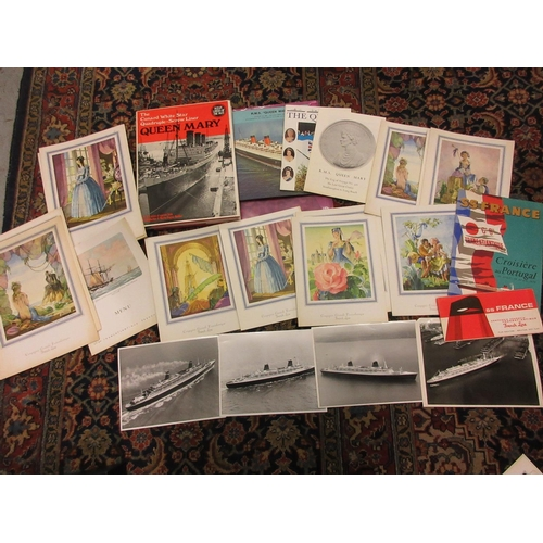 125 - Quantity of shipping related ephemera including French Line menus, S.S. France plan and Queen Mary l...