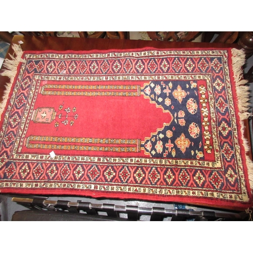4 - Small Persian style prayer rug having pale pink ground with central vase design and borders, 3ft x 2...