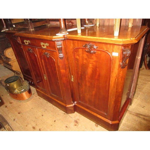 2440 - 19th Century mahogany sideboard, the moulded top above central single drawer and two arched top pane...