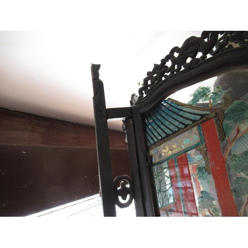 2431 - Large early 20th Century Chinese hardwood hanging lantern, the glazed panels painted with various fi...