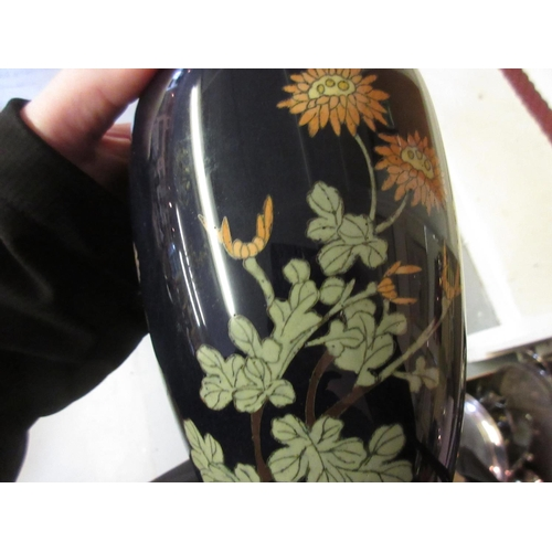 1710 - Early 20th Century Japanese cloisonne floral decorated baluster form vase (damages)...