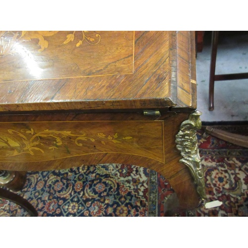 1907 - 19th Century French kingwood and marquetry bonheur du jour, the fall front enclosing a fitted interi...