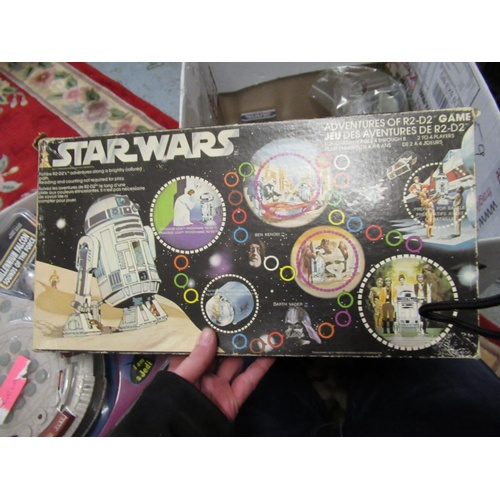 139 - Two boxes containing a collection of various Star Wars and Star Trek related toys...
