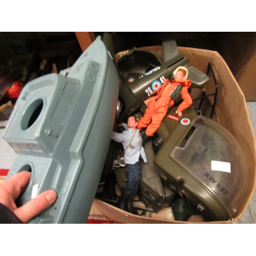 140 - Two re-issue Action Man dolls together with a collection of vintage vehicles and spares etc....