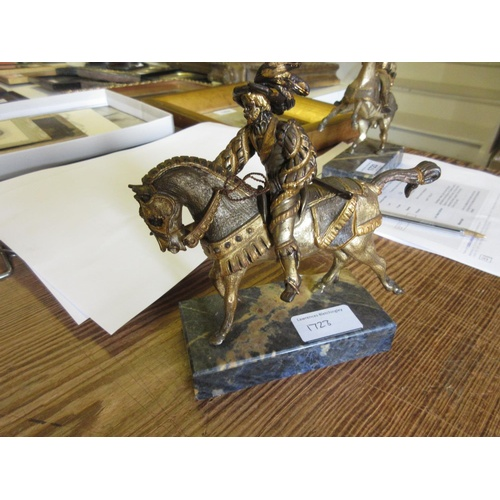 1723 - Giuseppe Vesari, pair of silver gilt and patinated bronze figures of Spanish cavalry figures on armo...