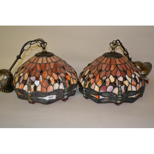 1053 - Pair of reproduction Tiffany style leaded glass Dragonfly pattern light fittings, each approximately...