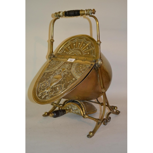 1067 - 19th Century brass coal scuttle, possibly by Benham and Froud for Christopher Dresser...