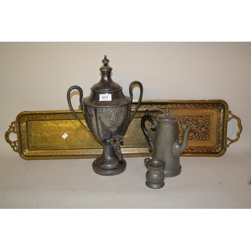 1073 - Britannia metal Samovar, a pewter coffee pot, pewter spirit measure and two rectangular Benares bras...