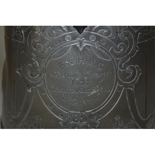 1074 - Large Britannia metal jug with 1927 Brighton Beer Trial inscription...