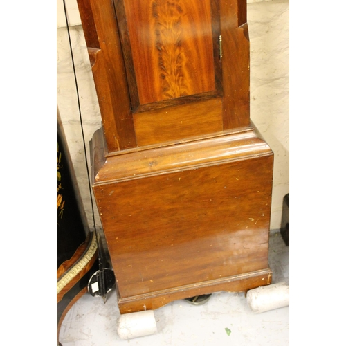 1088 - 19th Century mahogany longcase clock with a broken arch hood, conforming panel door and base, the pa...