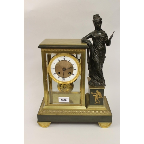 1090 - 19th Century French ormolu and brown patinated bronze four glass clock mounted with a figure of a la...