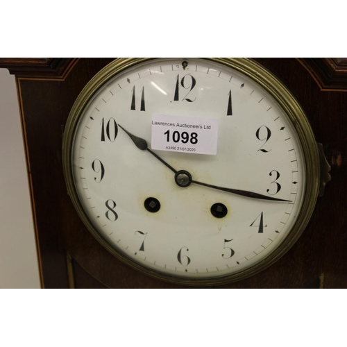 1098 - Edwardian mahogany brass mounted and line inlaid bracket clock, the broken arch case with a brass ca...