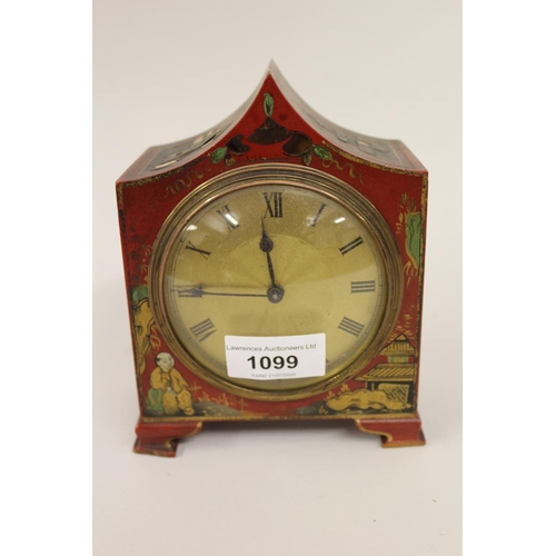 1099 - Small early 20th Century red chinoiserie lacquer mantel clock with a gilt dial, Roman numerals and s...