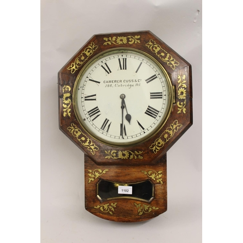 1102 - 19th Century rosewood and cut brass inlaid octagonal drop-dial wall clock, the 10in painted dial wit...