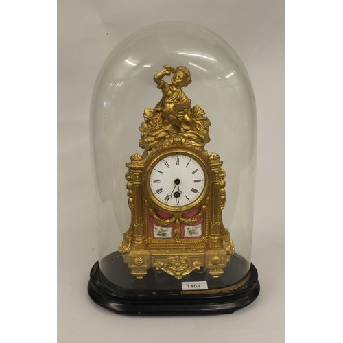 1108 - 19th Century French gilded spelter and porcelain mounted mantel clock, the case with a figural surmo...