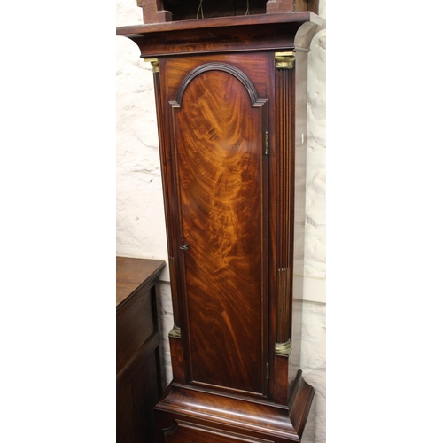 1121 - George III mahogany longcase clock, the broken arch hood with flanking pilasters above a figured pan...