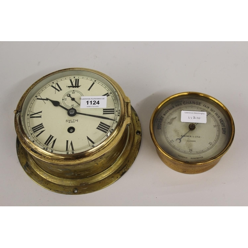 1124 - Smiths gilt brass circular bulkhead clock, the enamel dial with Roman numerals and subsidiary second...