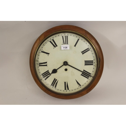 1126 - Walnut cased circular dial clock with single train fusee movement, together with a walnut cased two ...