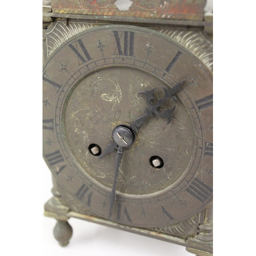 1128 - Late 19th or early 20th Century brass copy of an antique lantern clock with a two train French movem...