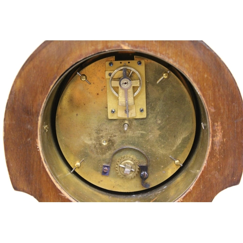 1135 - Edwardian mahogany marquetry and line inlaid balloon shaped mantel clock...