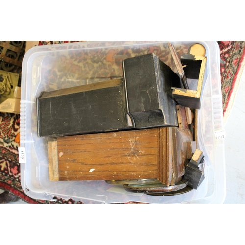 1139 - Two boxes of various clock parts and cases...