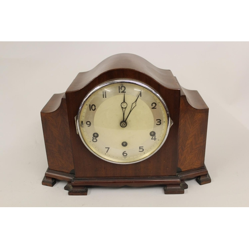 1140 - Art Deco mahogany dome topped three train mantel clock, together with two other dome top clocks...