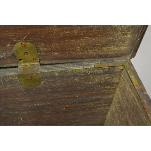 1584 - Large George II mahogany trunk with floral engraved gilt brass carrying handles and ornate escutcheo...