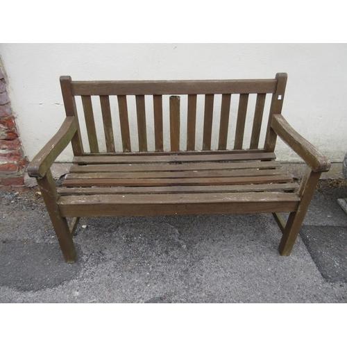 1585 - Slatted teak garden bench...