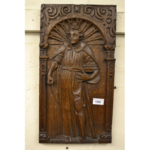 1590 - Pair of antique rectangular oak panels, carved with Apostles, 19ins x 10ins...