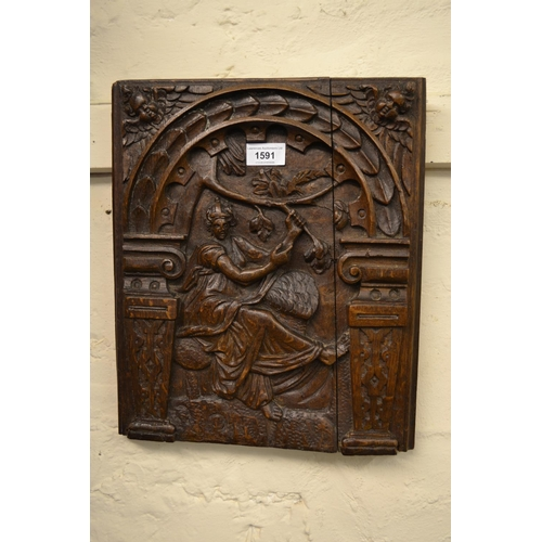 1591 - Antique rectangular oak panel carved with lady in an arbour, 14.5ins x 12ins...