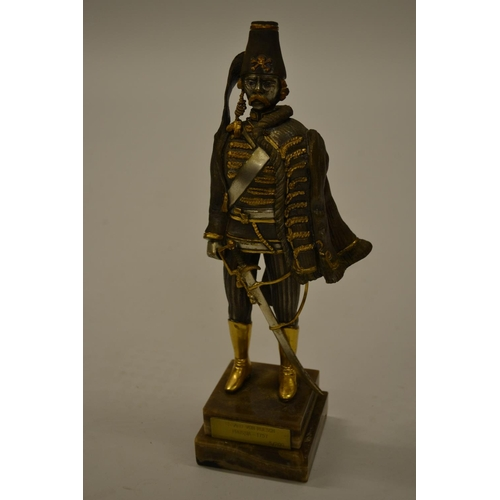 1592 - Giuseppe Vasari, 20th Century silvered and gilt bronze figure of a Prussian officer mounted on an on...