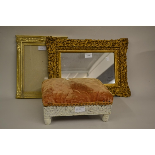 1596 - Small 19th Century gilt moulded composition rectangular wall mirror together with a small white pain...