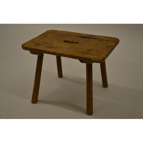 1597 - Antique elm and oak rectangular stool...
